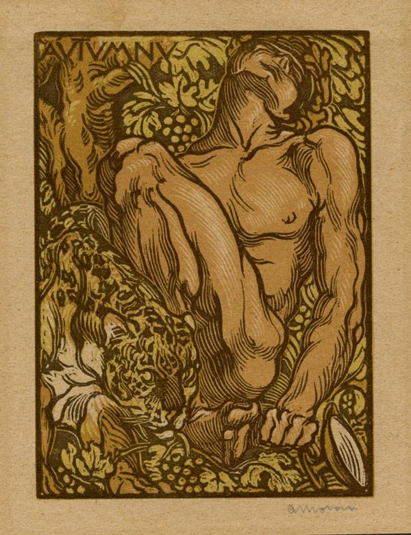 Antonello Moroni, Le quattro stagioni – Autunno, 1924, xilografia, mm 111 x 86; Forlì, Pinacoteca civica
